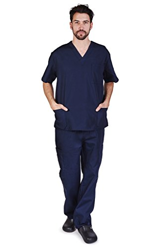 NATURAL UNIFORMS Men's Scrub Set Medical Scrub Top and Pants L Dark Navy ()
