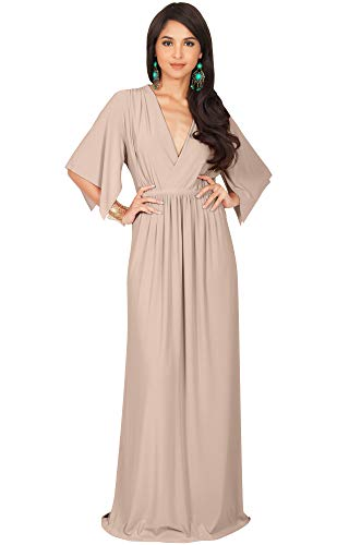 - KOH KOH Plus Size Womens Long Kaftan Caftan Short Sleeve Empire Waist Flowy V-Neck Summer Bridesmaid Evening Sexy Cute Modest Maternity Gown Gowns Maxi Dress Dresses, Tan Light Brown 4XL 26-28