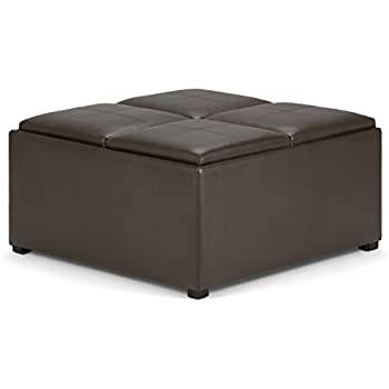 Simpli Home Avalon Coffee Table Storage Ottoman with 4 Serving Trays Chocolate Brown  sc 1 st  Amazon.com & Amazon.com: Best Selling | Storage Ottoman | Coffee Table | Square ...