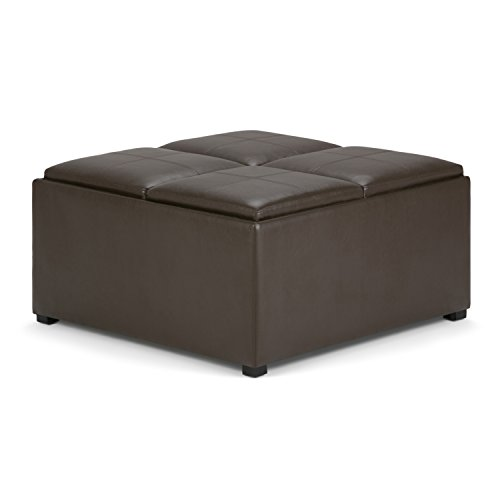 Simpli Home Avalon Coffee Table Storage Ottoman with 4 Serving Trays, Chocolate Brown Review
