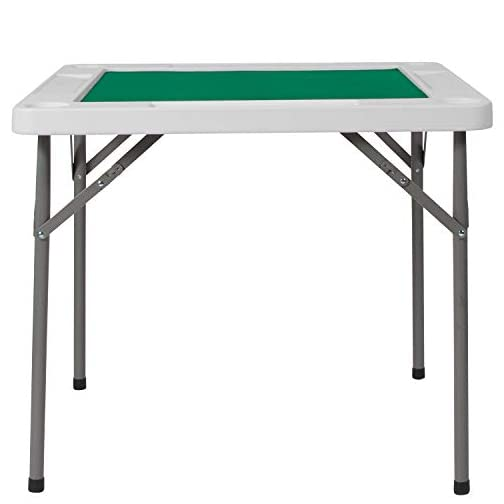 Flash Furniture 34.5″ Square 4-Player Folding Card Game Table with Green Playing Surface and Cup Holders