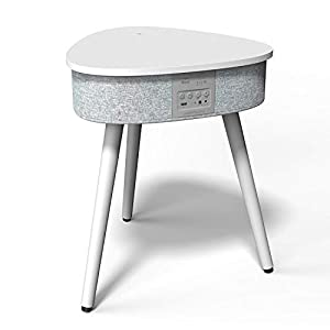 Portable Smart Side Table Bluetooth Speaker With Wireless & USB Charging Dock (White)