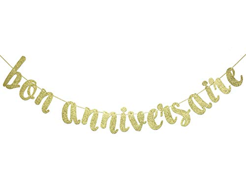 Bon Anniversaire Banner for Happy Birthday Party Decorations French Theme Sign Photo Backdrop (Gold Glitter)]()