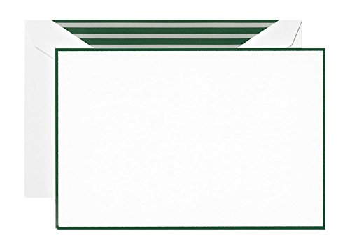 (Crane & Co. Hunter Green Bordered Pearl White Correspondence Card)