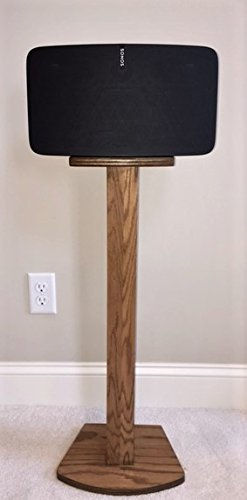 Beautiful Wood Speaker Stand Handcrafted for SONOS PLAY 5 (2nd Generation) Made in U.S.A. Single Stand. Oak color.