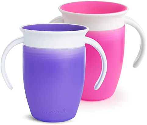 Munchkin Miracle 360 Trainer Cup, Pink/Purple, 7 oz, 2 Count