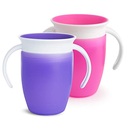 Munchkin Miracle 2 Piece 360 Trainer Cup, 7 Ounce, Pink/Purple