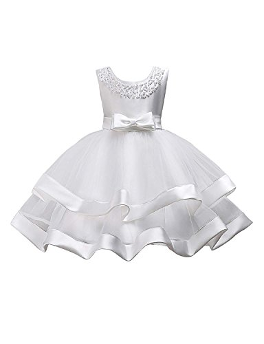 Wedding Dress for Little Girls 4 Years Old Sleeveless Tea Length Special Occasion Dress for Kids Lace A-Line Wedding Party Holiday Christmas Pageant Dress for Toddlers 4T White Princess (White 28) ()