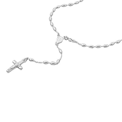 Double Accent Sterling Silver Rosary Necklace 3mm Oval Shape Bead Cross Pendant Rosary Chain (16, 18, 24 Inches) ()