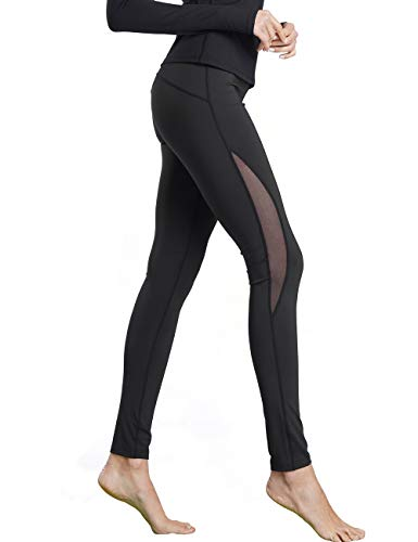 Bamans Women's Mesh Yoga Pants High Waist Stretch Non See-Through Workout Leggings w/Inner Pockets, Black M