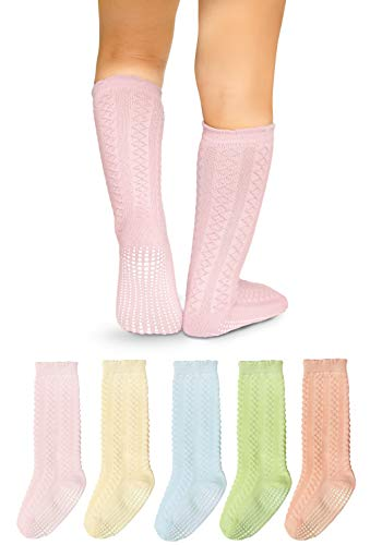 LA Active Baby Toddler Knee High Grip Socks - 5 Pairs - Non Slip/Skid Cable Knit (Pastels, 12-36 Months)