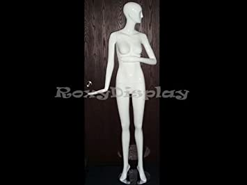 MD-XD04W standing pose ROXYDISPLAY/™ Glossy White Fiberglass Abstract Female Mannequin