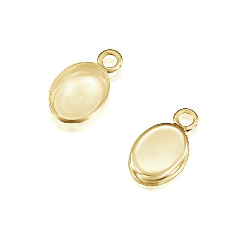 14k Gold-Filled Oval Setting with 1 Loop 6 x 8 mm Bezel Cup Findings for Pendants Charms Earrings, 2 Pcs