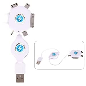 6 in1 USB Retractable Multifunctional Charger Cable for iPhone/Nokia/Sony Ericsson/Samsung Mobile Phones (White)