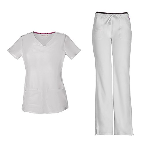(HeartSoul Women's Pitter-Pat Shaped V-Neck Scrub Top 20710 & Heartbreaker Heart Soul Drawstring Scrub Pants 20110 Medical Scrub Set (White - X-Small/XX-Small))