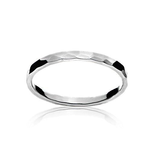 Sterling Silver Polished Hammered Midi Stackable Thin Wedding Band Ring, Size 9
