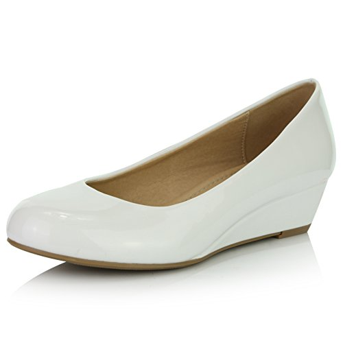 DailyShoes Women's Comfortable Fashion Low Heels Round Toe Wedge Pumps Shoes, White Patent Leather, 11 B(M) (White Leather Platform Wedge Shoes)
