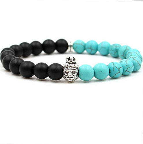 Mikash 8mm Turquoise Stone Monkey Owl Head Reiki Beaded Stretch Bracelets Jewellery | Model BRCLT - 6829 |