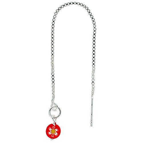 - Sterling Silver Threader Earrings Red Venetian Glass Dangle 4 1/2 inch long