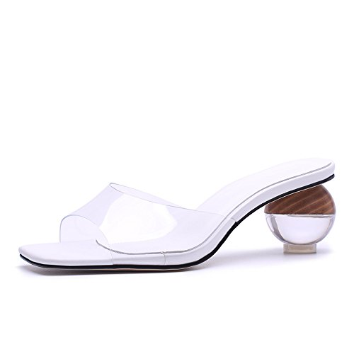 Nine Seven Genuine Leather Women's Square Toe Clear Exquisite Exquisite Exquisite Heel Handmade Elegant Casual Mule Pumps New Parent B07D47XPQD f10bba