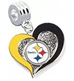 Pittsburgh Steelers Swirl Heart Charm with Connector