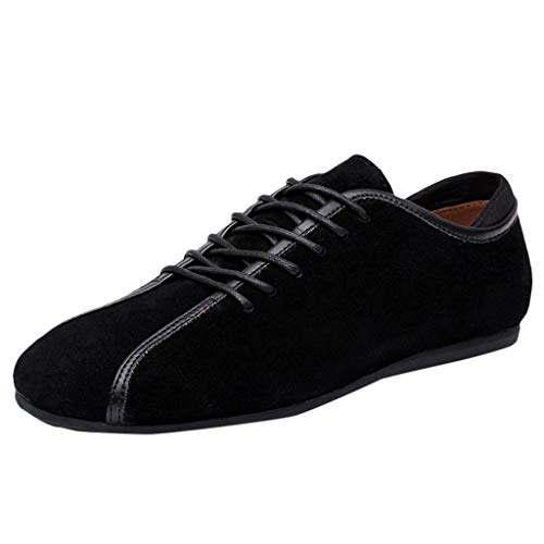 JJLIKER Men's Urban Suede Leather Lace Up Oxfords Shoes Dress Shoes Business Casual Lightweight Leather Lace Up Shoes ()