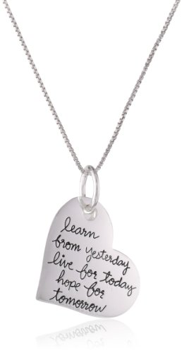 """Sterling Silver """"Live Laugh Love Learn… Hope for Tomorrow"""" Heart Pendant Necklace with Flower Charm, 18"""""""