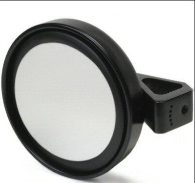 Deluxe Billet Aluminum Black Mirror With Flat Lens for 1.75 Inch Roll Cage Tubing For Dune Buggy, Sandrail, Atv, Polaris Rzr, UTV, Sand (Deluxe Billet)