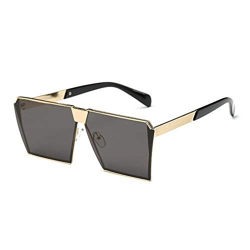 Fashion Designer Square Flat Lens Sun Glasses Mirror Women Sunglasses Men Hip Hop Oversized Lady Eyeglasses Men FDA UV400,Gold ()