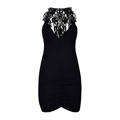 minjiSF One Piece Women's Sexy Nightclub Style Fashion Lace Sling V-Neck Leopard Sex Lingerie Chemise Black