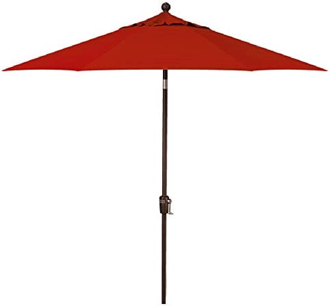 9-Foot Treasure Garden Model 810 Deluxe Auto-Tilt Market Umbrella with Bronze Frame and Obravia2 Fabric Red