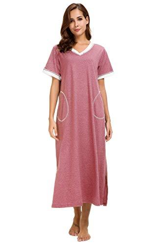 Aviier Long Nightgown Womens Lounge Dresses with Pockets V Neck Short Sleeve Maxi Nightshirt Sleepwear