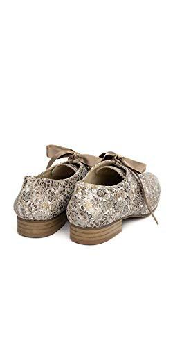 38 Color Zapatos Salonissimos Mujer Talla Lazo Estampados Blucher Beige 8wqRZf
