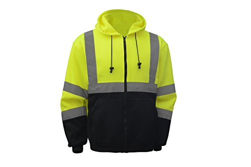 CJ Safety CJHVSS3001 ANSI Class 3 High Visibility Black Bottom Hoodie Safety Sweatshirt (2XL, Green) Reflective Safety Material