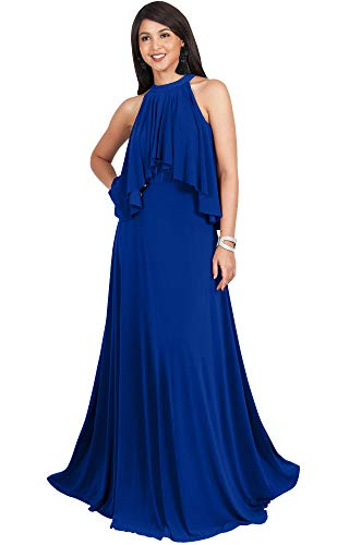 KOH KOH Womens Long Sleeveless Halter Neck Flowy Bridesmaid Bridal Cocktail Spring Summer Beach Wedding Party Guest Floor-Length Gown Gowns Maxi Dress Dresses, Cobalt Royal Blue L 12-14 ()