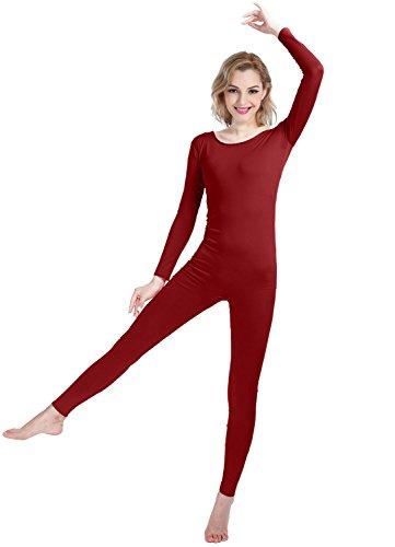 Girls Womens Well-Fit Spandex Lycra Bodysuit Long Sleeve Scoop Neckline Footless Unitard (XS, (Kids Workout Costume)