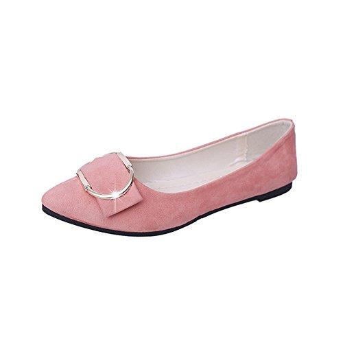 Bininbox Femmes Élégante Boucle Carrée Pointue Chaussures Plates Rose