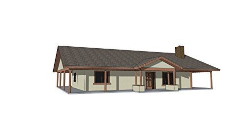 Custom Home Construction Plan Set for a 1,339 sf (livable) Single Story 'Ranch' Style home w/ 2 bedrooms, 2 bathrooms, Great room & Large Kitchen