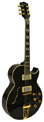 "Glen Burton GE775-CHIC-QBK""Chicago"" Hollowbody Electric Guitar, Humbucker Black Gold Chrome"