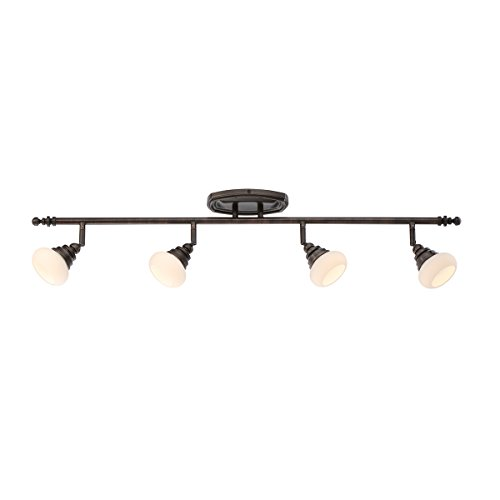 Bronze Fixed Rail - WAC Lighting TK-48536-AB Monterrey LED 5 Light Fixture Fixed Rail, One Size, Opal/Antique Bronze