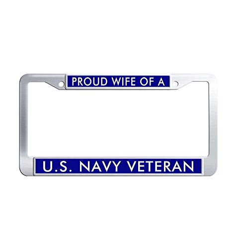 JiuzFrames Proud Wife of a US Navy Veteran Car Licence Plate Covers, Funny Waterproof Stainless Steel Metal License Plate Frame Holder with Screw Caps