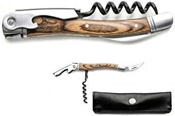 LAGUIOLE Sacacorchos Sommelier 3 funciones Laguiole con su funda de cuero look :Sacacorchos de madera exótica y mecha de acero templado con 5 espirales Abrelatas Abrebotellas