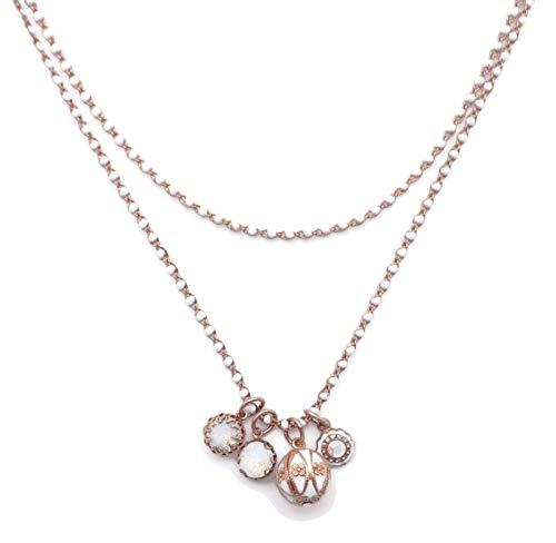 (Catherine Popesco White Opalescent & Crystal AB Swarovski Crystal Goldtone Layered Charm Necklace)
