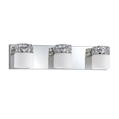- Kendal Lighting VF6400-3L-CH Vellase 3-Light Vanity Fixture, Chrome Finish and White Glass with Optic Crystal Accents