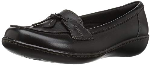 (CLARKS Women's Ashland Bubble Slip-On Loafer, Black, 8.5 W US )