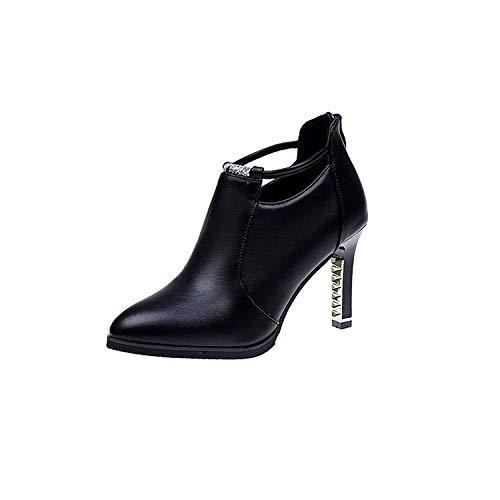 Yukun Diamantes Tacones Acentuados Aguja tacón Tacones de De Versátiles Imitación zapatos PU alto Aguja Profunda De Black De Zapatos Aguja Acentuados De De H8xrvHqF