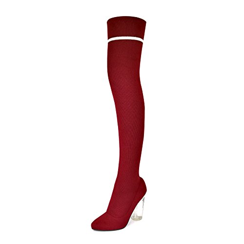 DailyShoes Thigh-High Sweater Heels - Over The Knee Tall, Chunky, See-Through Heel - Soft Knit Sweater Material - Pointy Toe Boots Ideal For a Unique Nightwear Look Chunky Knit Boot