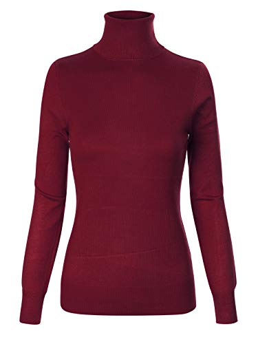 Instar Mode Women's Basic Stretch Knit Long Sleeve Soft Turtle Neck Top Pullover Sweater Burgundy ()