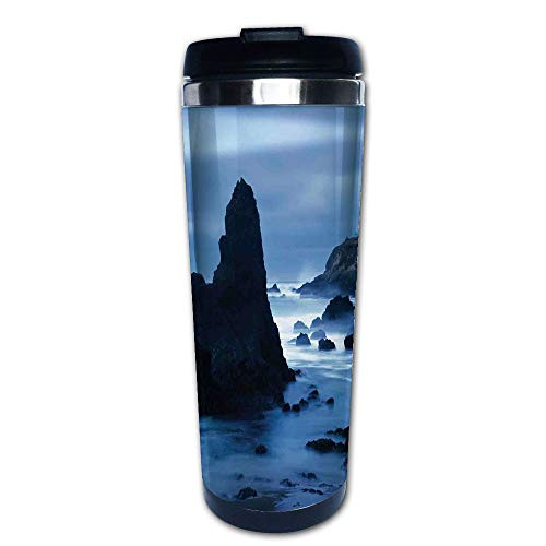 Lite Steel Beam - Stainless Steel Insulated Coffee Travel Mug,the California Coast with Light Beam Peaceful,Spill Proof Flip Lid Insulated Coffee cup Keeps Hot or Cold 13.6oz(400 ml) Customizable printing