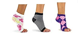 Freetoes Sock X 3 Pair (Argyle, Stripped Black White, Floral)